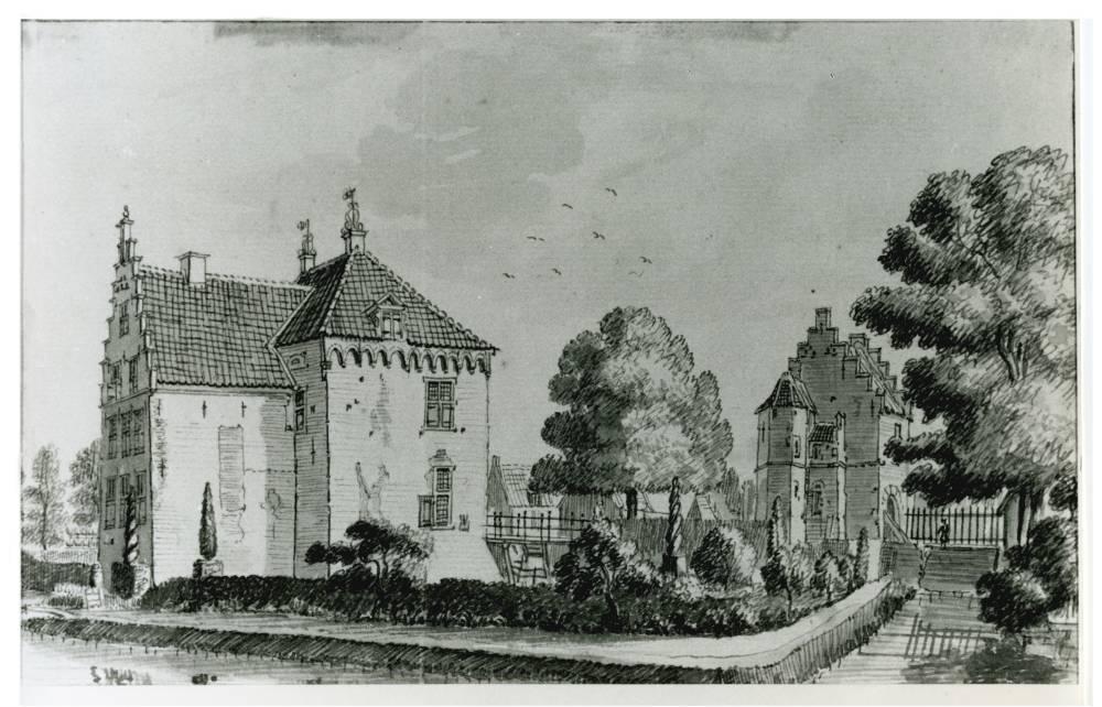 Kasteel Levendaal in Rhenen. Tekening Jan de Beijer, 1745